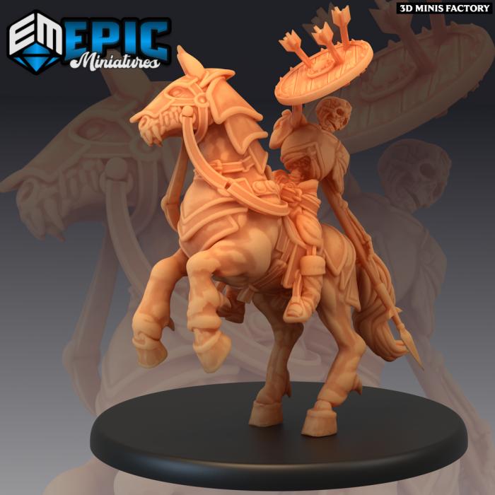 Skeleton Cavalry - 2 Variations (Large) des Castle of Terror créé par Epic Miniatures de 3D Minis Factory