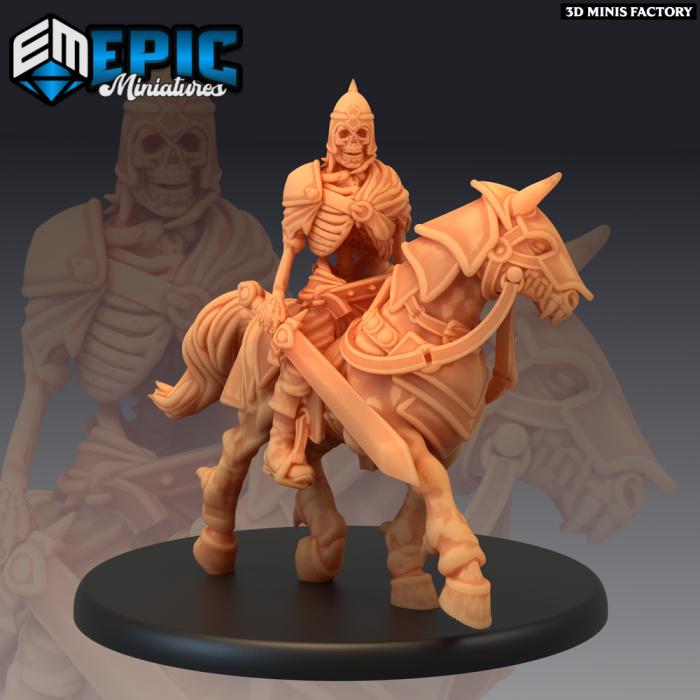 Skeleton Cavalry Sword Master des Castle of Terror créé par Epic Miniatures de 3D Minis Factory
