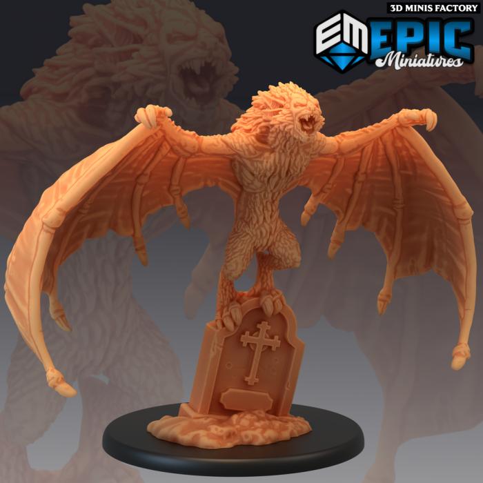 Giant Bat Resting - 2 Variations (Large) des Castle of Terror créé par Epic Miniatures de 3D Minis Factory