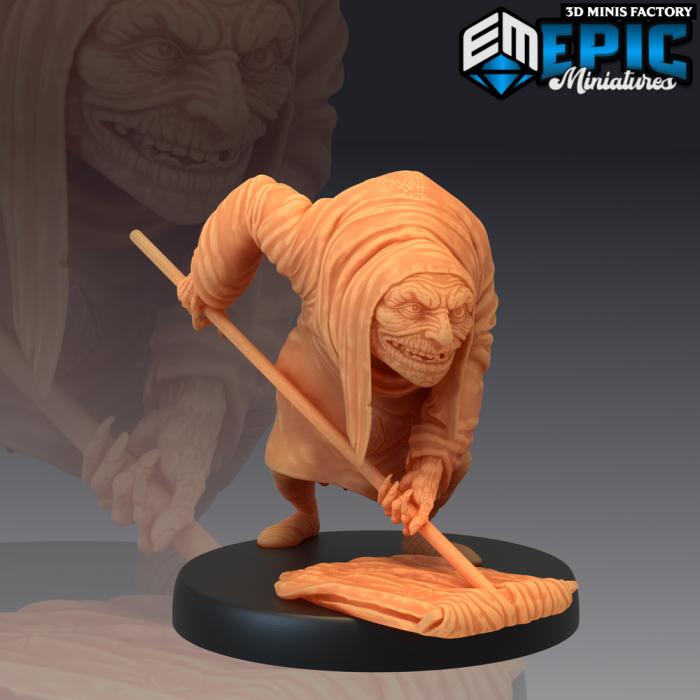 Hunchback Wiping Floor des Castle of Terror créé par Epic Miniatures de 3D Minis Factory