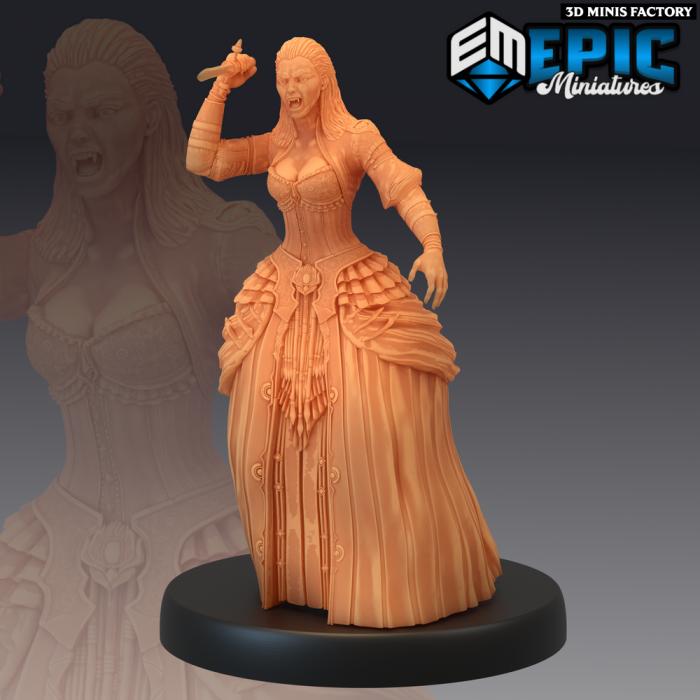 Vampire Lady Attacking des Castle of Terror créé par Epic Miniatures de 3D Minis Factory
