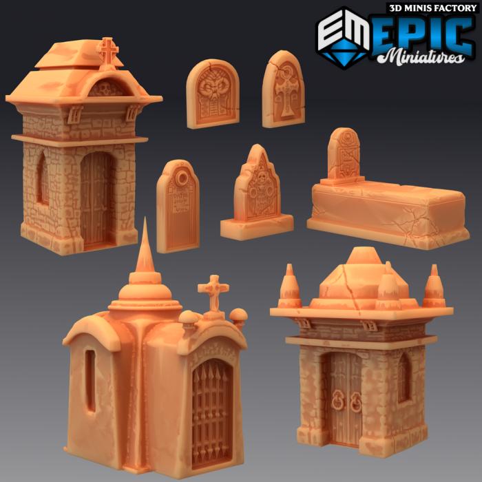 Graveyard Props des Castle of Terror créé par Epic Miniatures de 3D Minis Factory