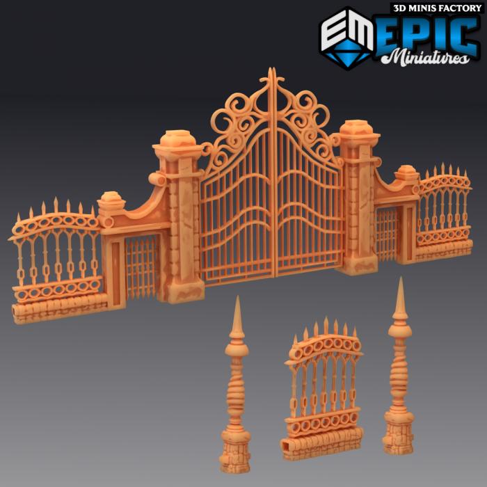Modular Graveyard Gate & Fence des Castle of Terror créé par Epic Miniatures de 3D Minis Factory