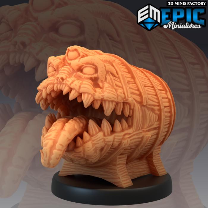 Mimic Barrel des Sons of Midnight créé par Epic Miniatures de 3D Minis Factory