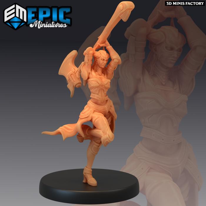Dark Dragoon Lady Attacking des Sons of Midnight créé par Epic Miniatures de 3D Minis Factory