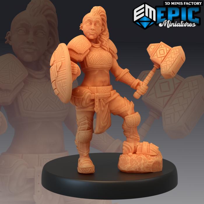 Dwarven War Maiden des Sons of Midnight créé par Epic Miniatures de 3D Minis Factory