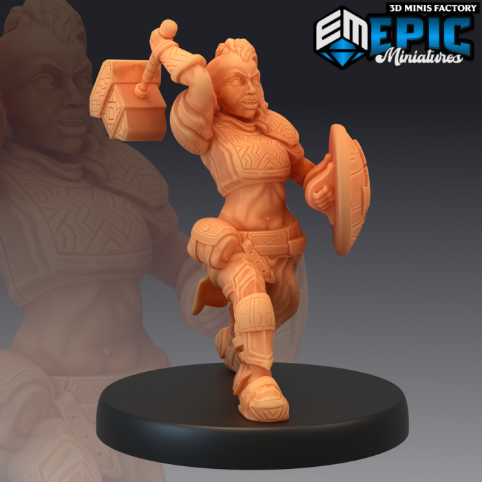 Dwarven War Maiden Attacking des Sons of Midnight créé par Epic Miniatures de 3D Minis Factory