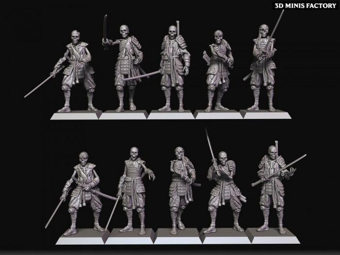 Katana Skeletons des Undying Dynasties créé par Raven twin Miniatures de 3D Minis Factory