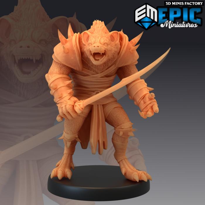 Gnoll Sword des Monster Rampage créé par Epic Miniatures de 3D Minis Factory