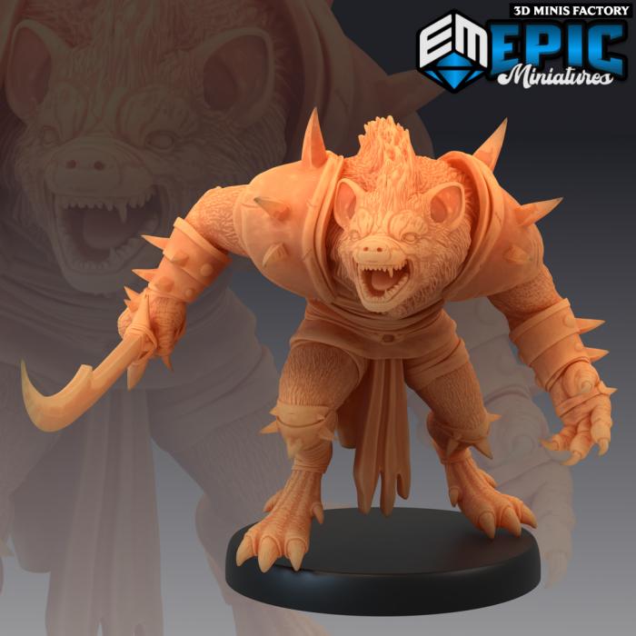 Gnoll Sword Charging des Monster Rampage créé par Epic Miniatures de 3D Minis Factory