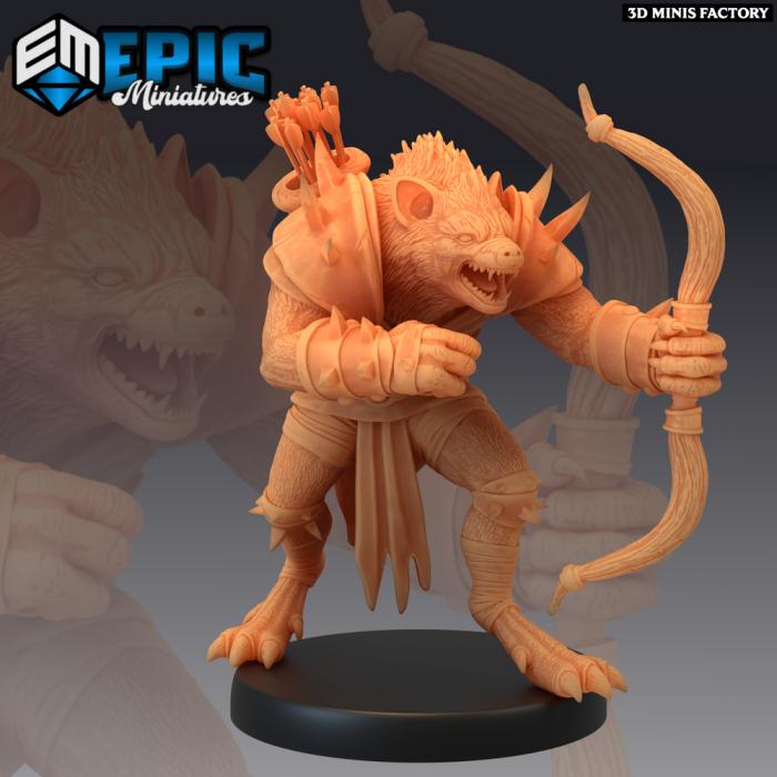 Gnoll Archer Aiming des Monster Rampage créé par Epic Miniatures de 3D Minis Factory