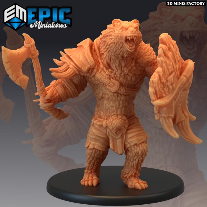 Werebear Warrior Axe & Shield des Monster Rampage créé par Epic Miniatures de 3D Minis Factory