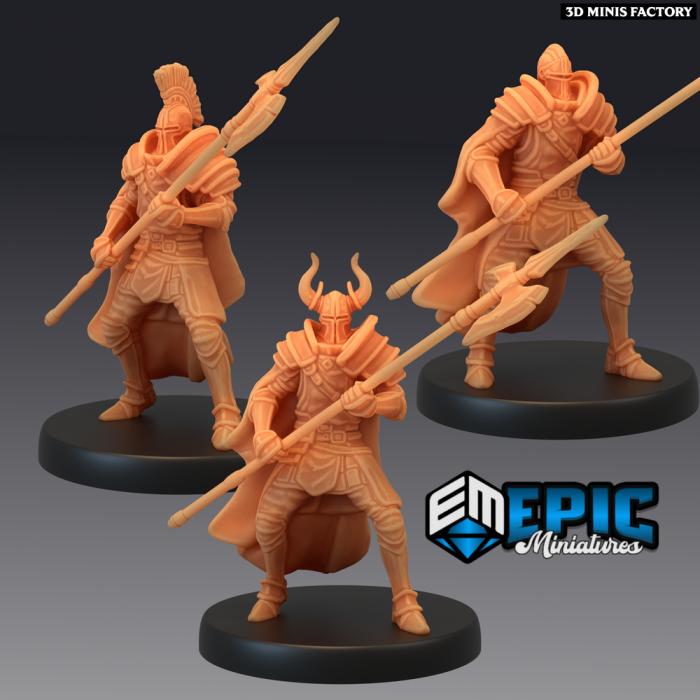 Royal Guard Halberd - 3 Variations des Last Rebellion créé par Epic Miniatures de 3D Minis Factory