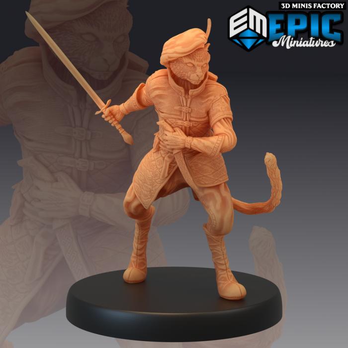 Tabaxi Black Cat Rogue Sword des Last Rebellion créé par Epic Miniatures de 3D Minis Factory