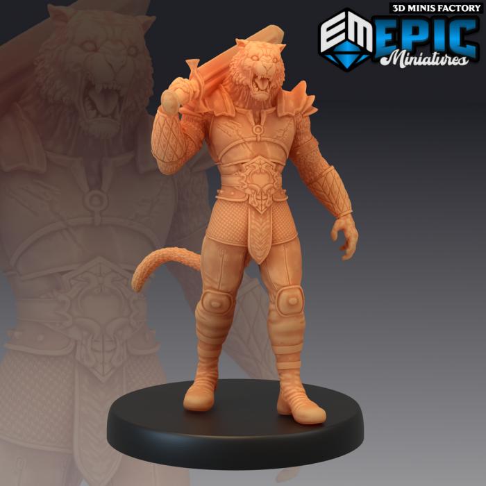 Tabaxi Tiger General Broad Sword des Last Rebellion créé par Epic Miniatures de 3D Minis Factory
