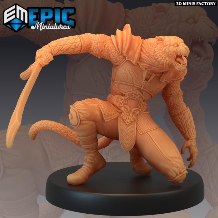 Tabaxi Tiger General Saber des Last Rebellion créé par Epic Miniatures de 3D Minis Factory