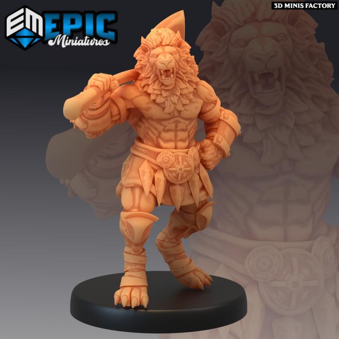 Tabaxi Lion Warrior Axe des Last Rebellion créé par Epic Miniatures de 3D Minis Factory