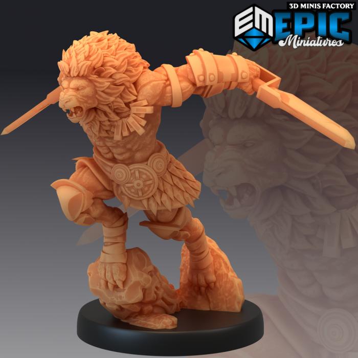 Tabaxi Lion Warrior Jump Attack des Last Rebellion créé par Epic Miniatures de 3D Minis Factory