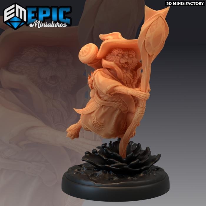 Tabaxi White Cat Sorcerer Attacking des Last Rebellion créé par Epic Miniatures de 3D Minis Factory
