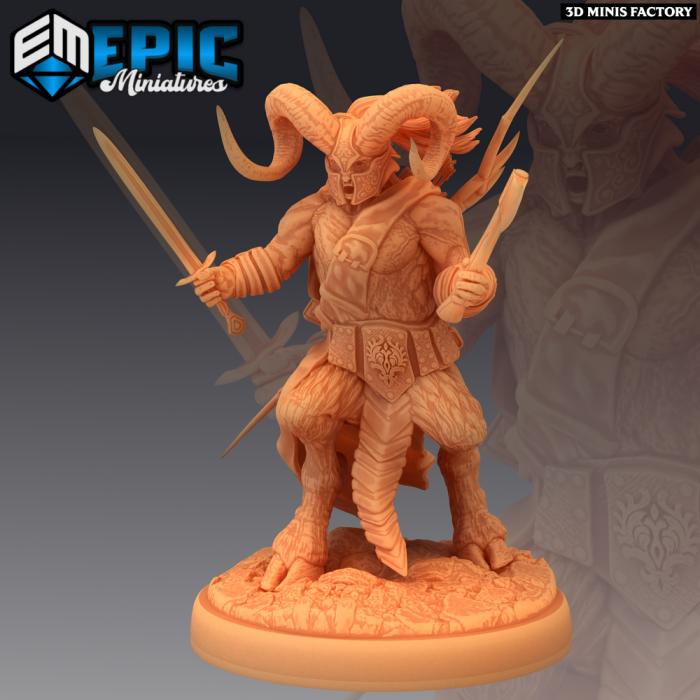 Satyr Armored Fighting des Fey Woods créé par Epic Miniatures de 3D Minis Factory