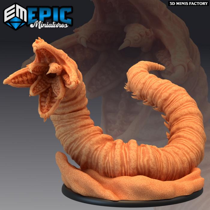 Sandworm Outside des Mythical Desert créé par Epic Miniatures de 3D Minis Factory