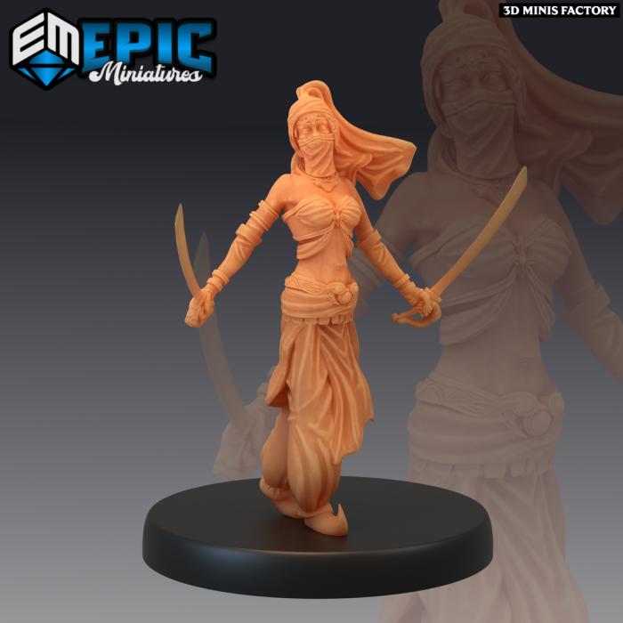 Orient Princess Sword Dance des Mythical Desert créé par Epic Miniatures de 3D Minis Factory