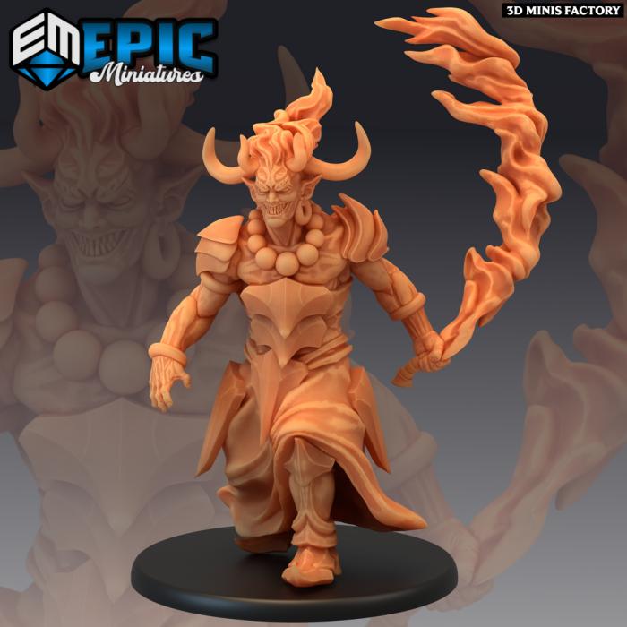 Efreeti Flame Sword des Inferno Island créé par Epic Miniatures de 3D Minis Factory