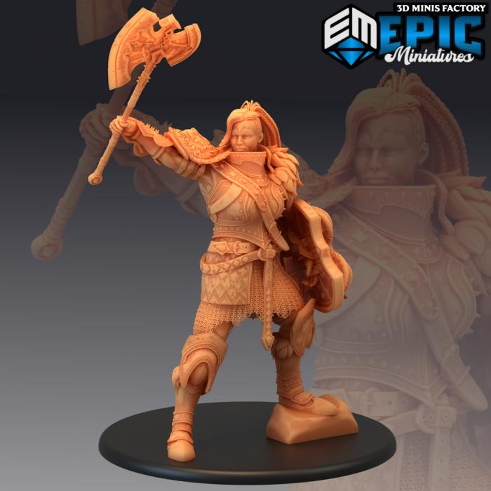 Fire Giantess Triumphant des Inferno Island créé par Epic Miniatures de 3D Minis Factory