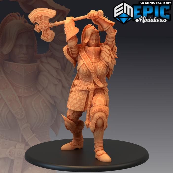 Fire Giantess Attacking des Inferno Island créé par Epic Miniatures de 3D Minis Factory