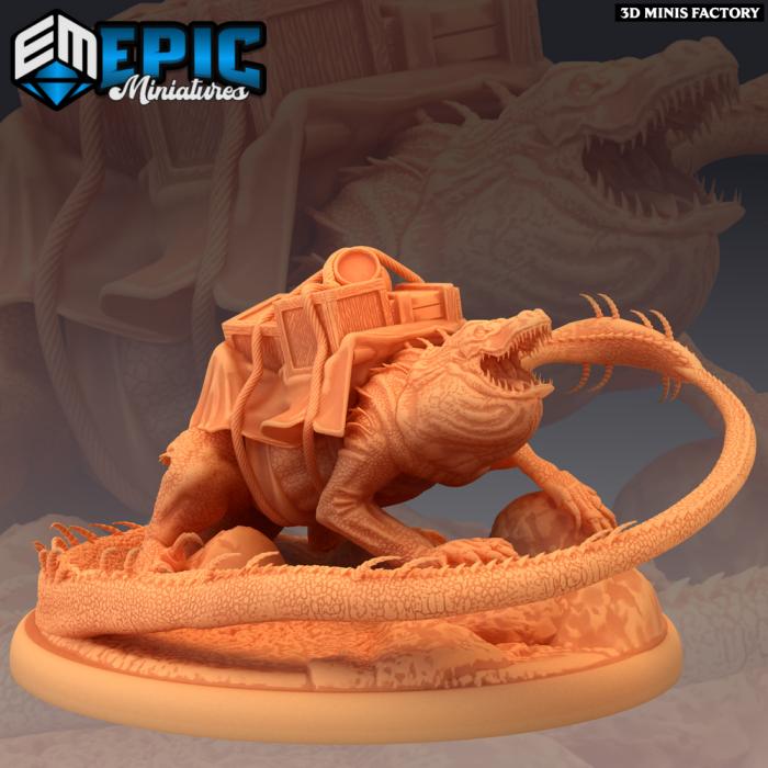 Lava Crocodile Pack Animal des Inferno Island créé par Epic Miniatures de 3D Minis Factory