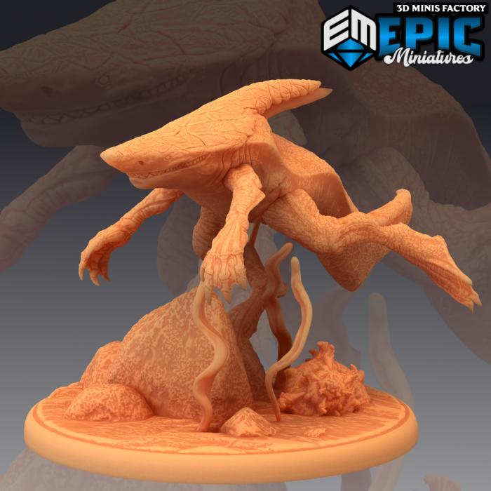 Wereshark Swimming des Inferno Island créé par Epic Miniatures de 3D Minis Factory