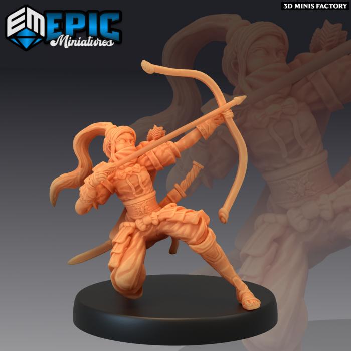 Samurai Female Archer des Divine Dynasty créé par Epic Miniatures de 3D Minis Factory