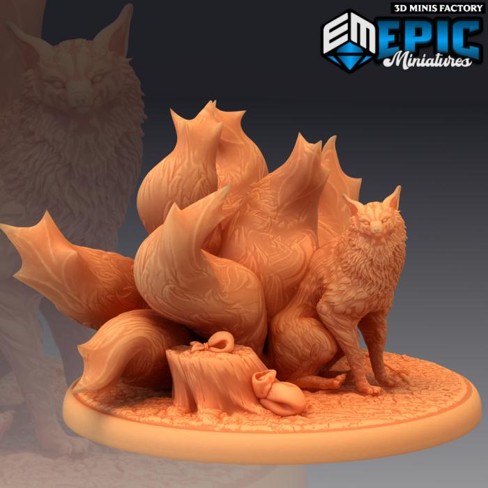 Nine Tailed Fox Sitting des Divine Dynasty créé par Epic Miniatures de 3D Minis Factory