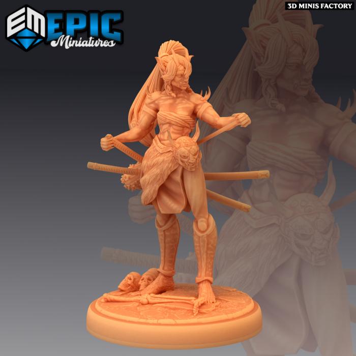 Oni Warrior Female des Divine Dynasty créé par Epic Miniatures de 3D Minis Factory
