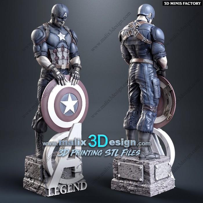 Captain America des Marvel créé par Malix3Design de 3D Minis Factory