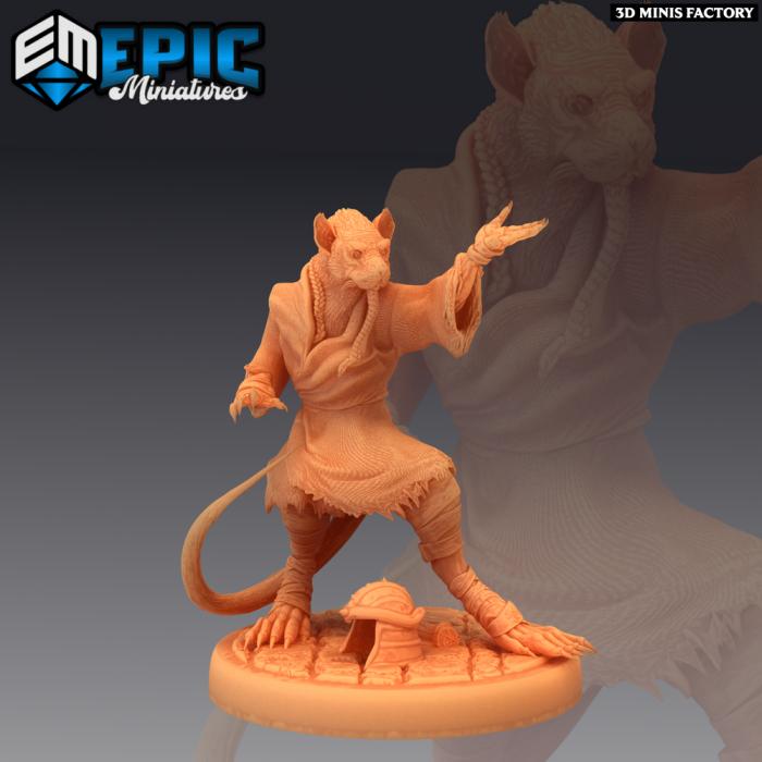 Ratfolk Sensei Fighting des Divine Dynasty créé par Epic Miniatures de 3D Minis Factory