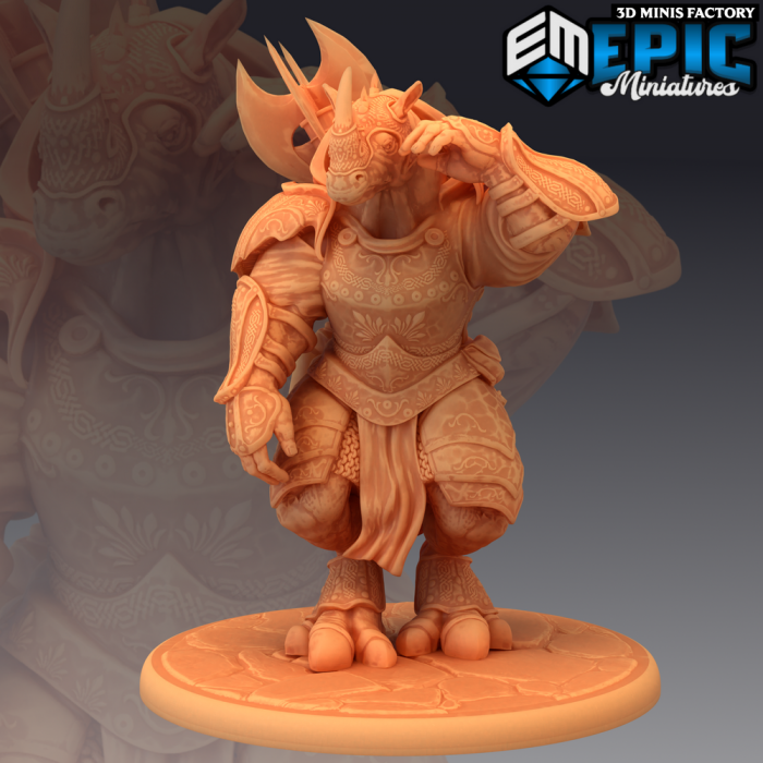 Rhino Champion des Legendary Tournament créé par Epic Miniatures de 3D Minis Factory