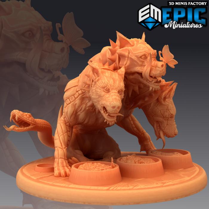 Cerberus Eating des Legendary Tournament créé par Epic Miniatures de 3D Minis Factory