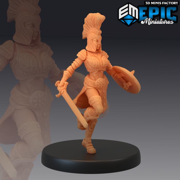 Gladiator Female Running des Legendary Tournament créé par Epic Miniatures de 3D Minis Factory