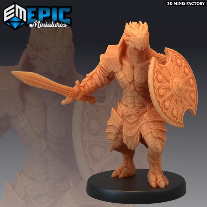 Dragonborn Sword & Shield des Legendary Tournament créé par Epic Miniatures de 3D Minis Factory
