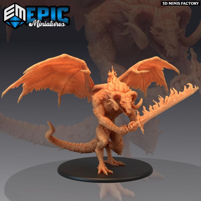 Fire Devil Sword des Fallen Sanctuary créé par Epic Miniatures de 3D Minis Factory