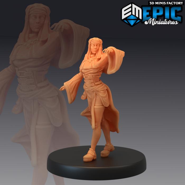 Nun Assistant des Fallen Sanctuary créé par Epic Miniatures de 3D Minis Factory