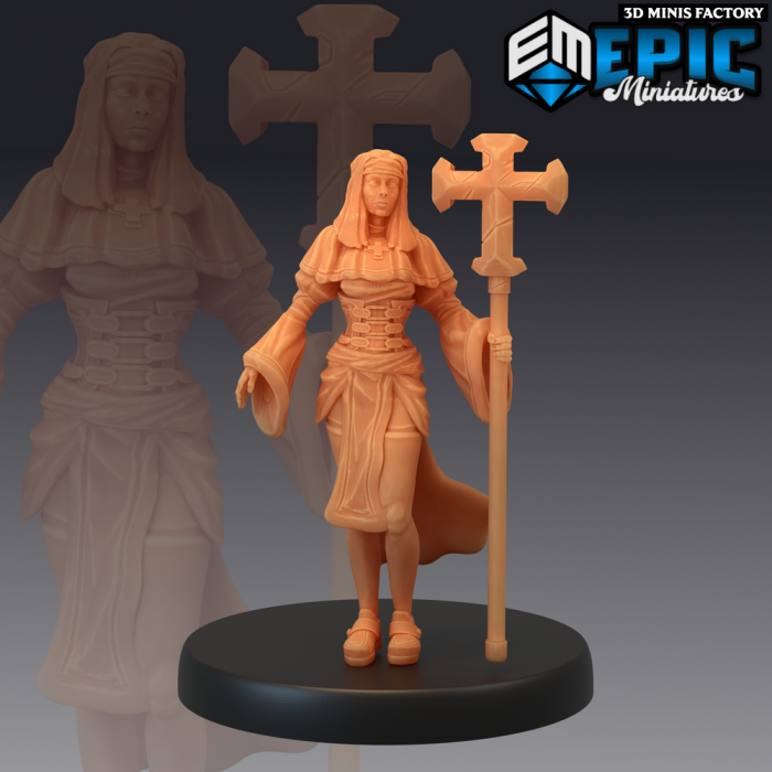 Nun Assistant Cross des Fallen Sanctuary créé par Epic Miniatures de 3D Minis Factory