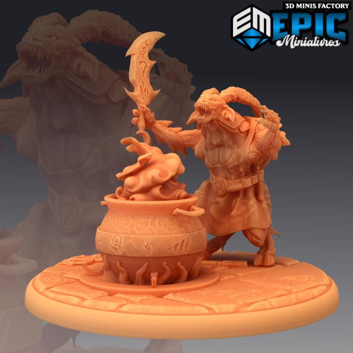 Horned Devil Summoner des Fallen Sanctuary créé par Epic Miniatures de 3D Minis Factory