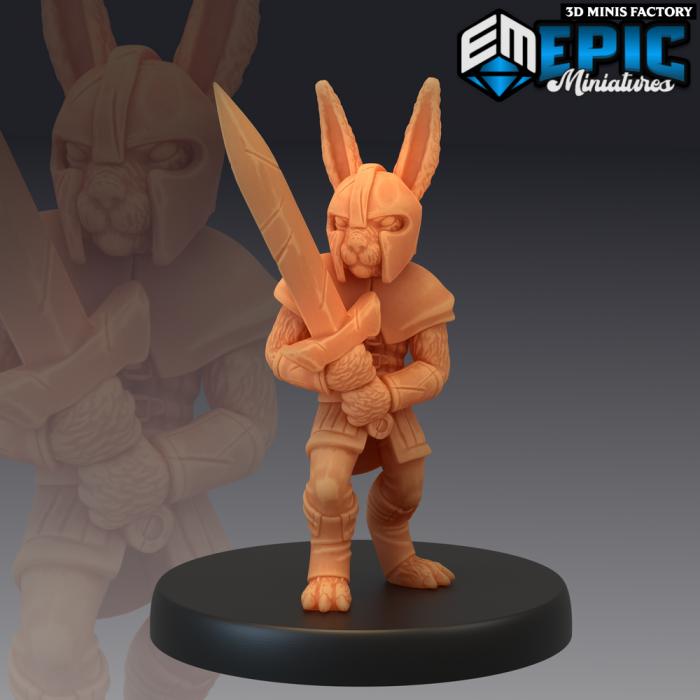 Bunny Swordsman des Rodent Wars créé par Epic Miniatures de 3D Minis Factory