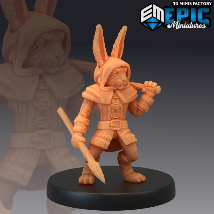 Bunny Spearman des Rodent Wars créé par Epic Miniatures de 3D Minis Factory
