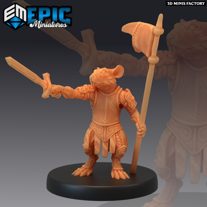 Rat Leader des Rodent Wars créé par Epic Miniatures de 3D Minis Factory