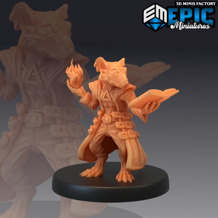 Rat Wizard des Rodent Wars créé par Epic Miniatures de 3D Minis Factory