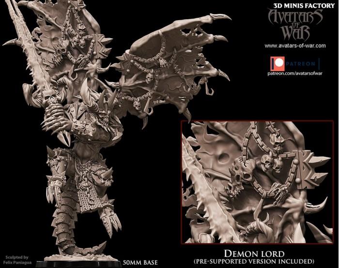 Demon Lord des Deamon créé par Avatars of War de 3D Minis Factory