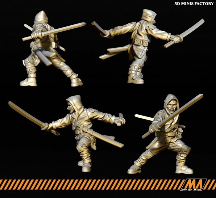 Cyberpunk Ronin 04 des Apocalypse Survivor créé par Art of Mike de 3D Minis Factory
